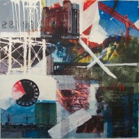 Brighton Assemblage, Encaustic on Canvas, 100 x 100 cms,£1000