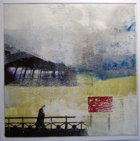 Brighton Storm, Encaustic on Canvas, 60 x 60 cms, SOLD