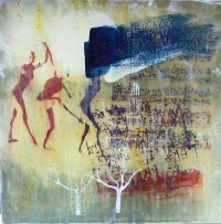 Dancing in the Dark, Encaustic on Canvas, 60 x 60 cms, £400